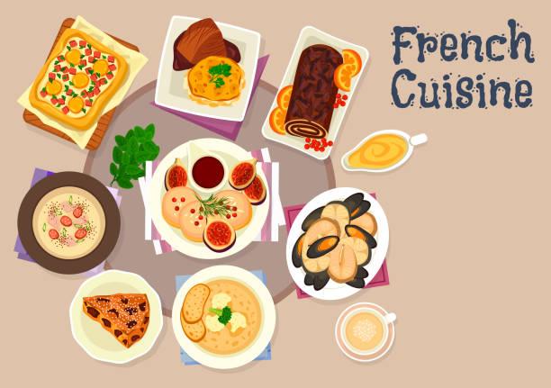French cuisine festive dinner dishes icon design vector art illustration