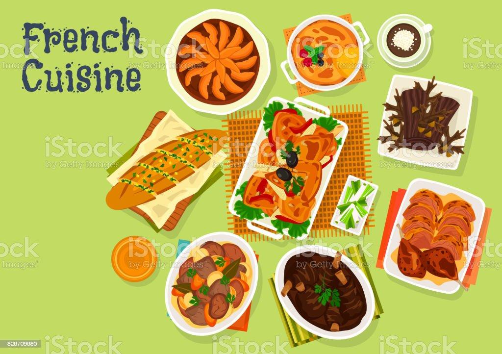 Französische Küche Festliches Dinner Menü Icondesign Stock Vektor ...