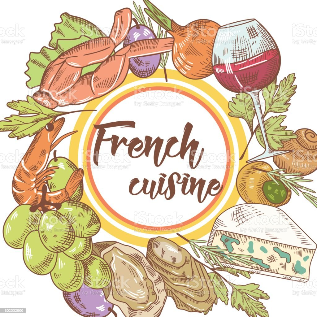 french cuisine hand drawn background with cheese wine and grape food