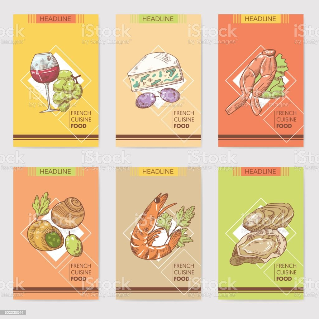 french cuisine hand drawn cards brochure menu with cheese seafood