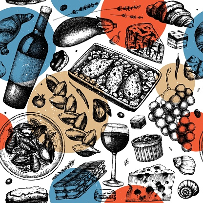 French cuisine pattern in collage style