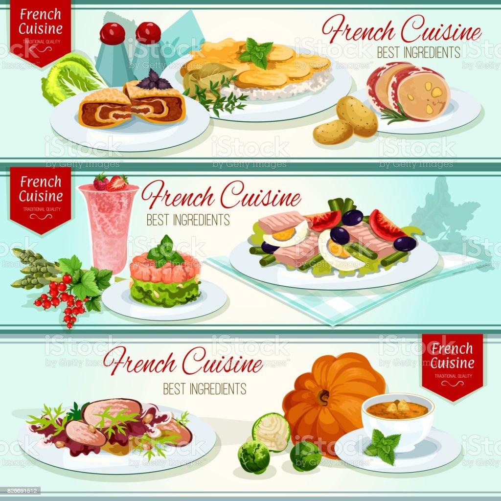 フランス料理レストラン ディナー バナー セット ベクターアートイラスト