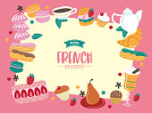 French cuisine, various traditional desserts. A great set of vector dishes.