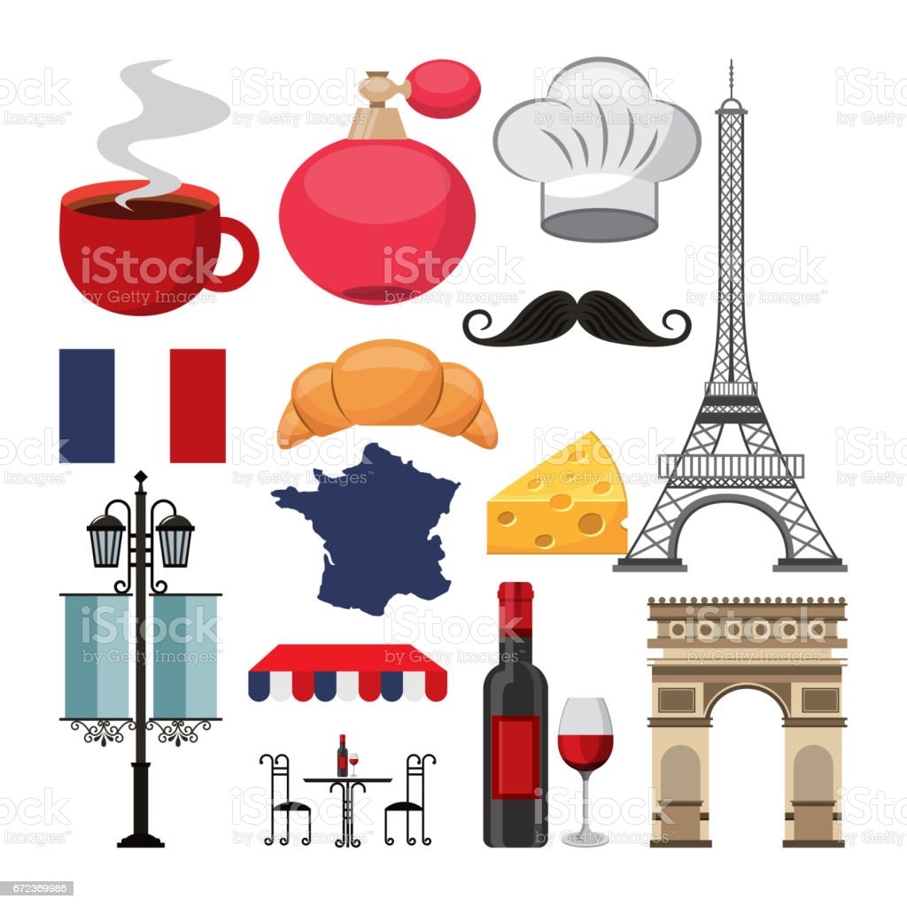 french culture set icons vector art illustration