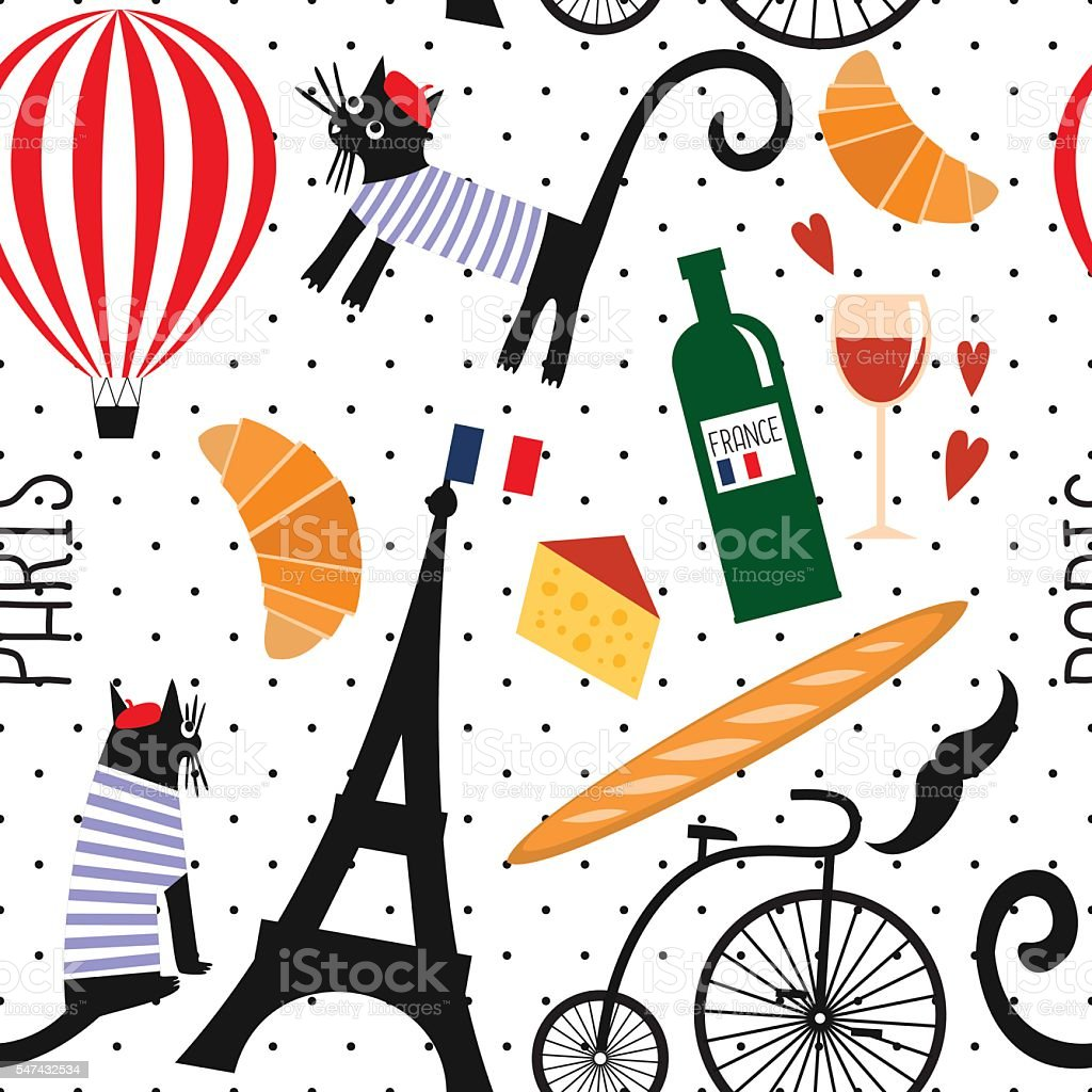 french culture symbols seamless pattern on polka dots. Black Bedroom Furniture Sets. Home Design Ideas