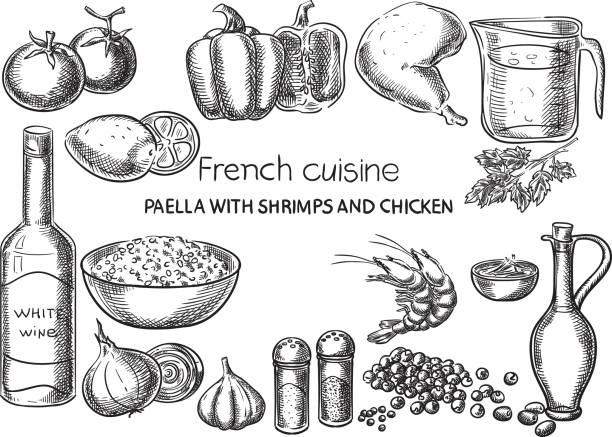 stockillustraties, clipart, cartoons en iconen met franse gerechten. - paella