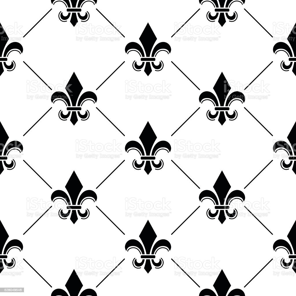 French Damask background - Fleur de lis black pattern vector art illustration
