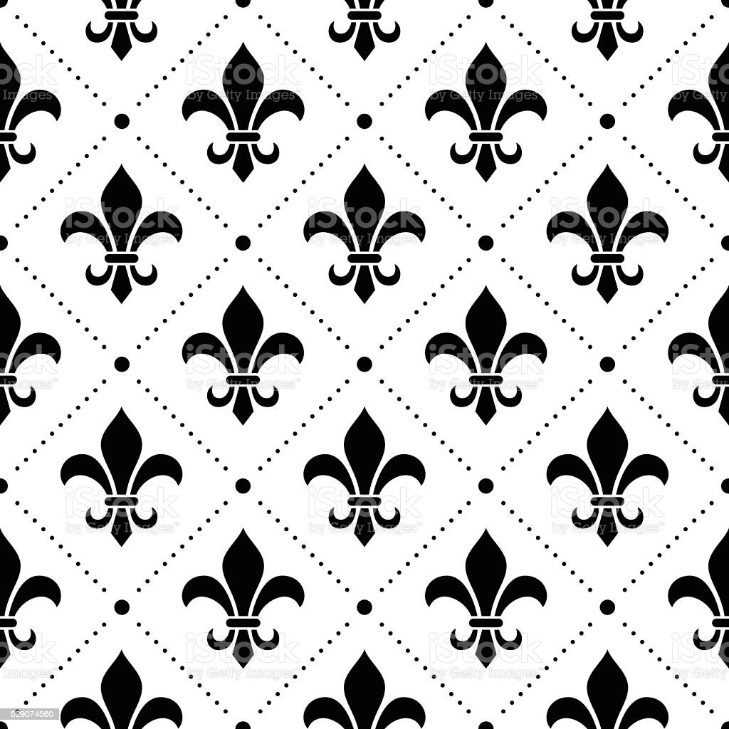 French Damask Background Fleur De Lis Black Pattern Stock Vector Art