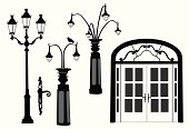 French Doors Lamposts Vector Silhouette