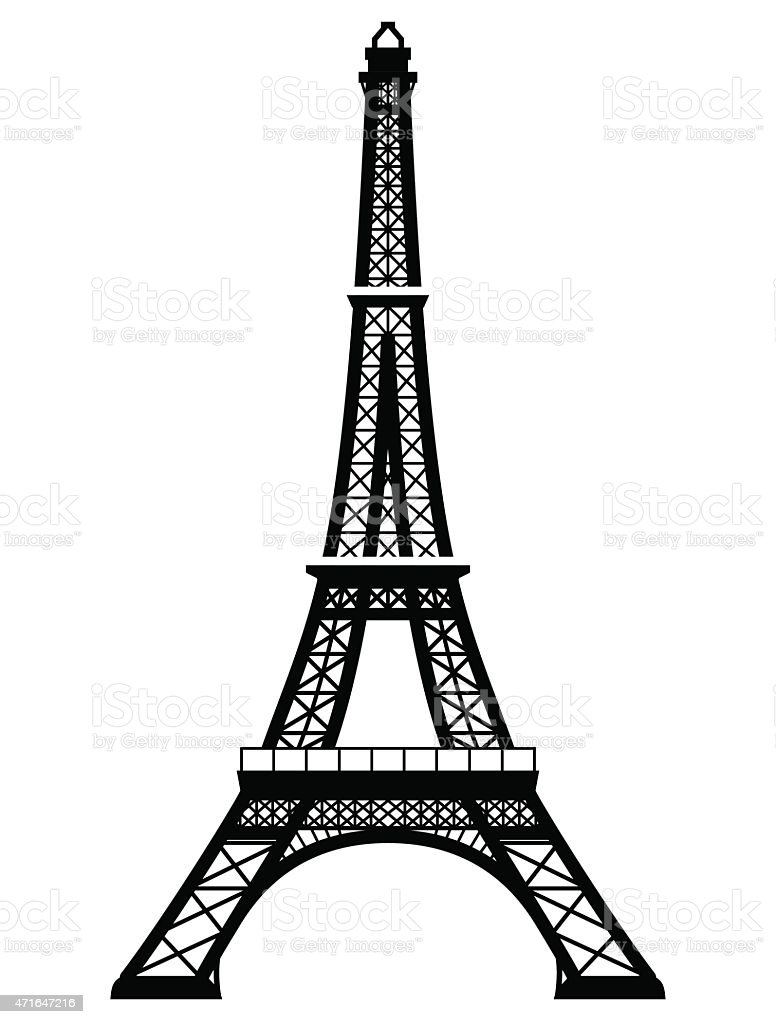 french eiffel tower in blackandwhite color stock vector art more images of 2015 471647216 istock. Black Bedroom Furniture Sets. Home Design Ideas