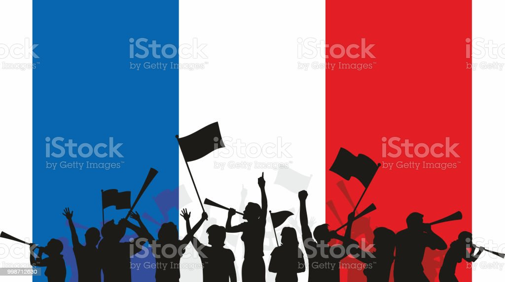 French Fans and Flag vector art illustration