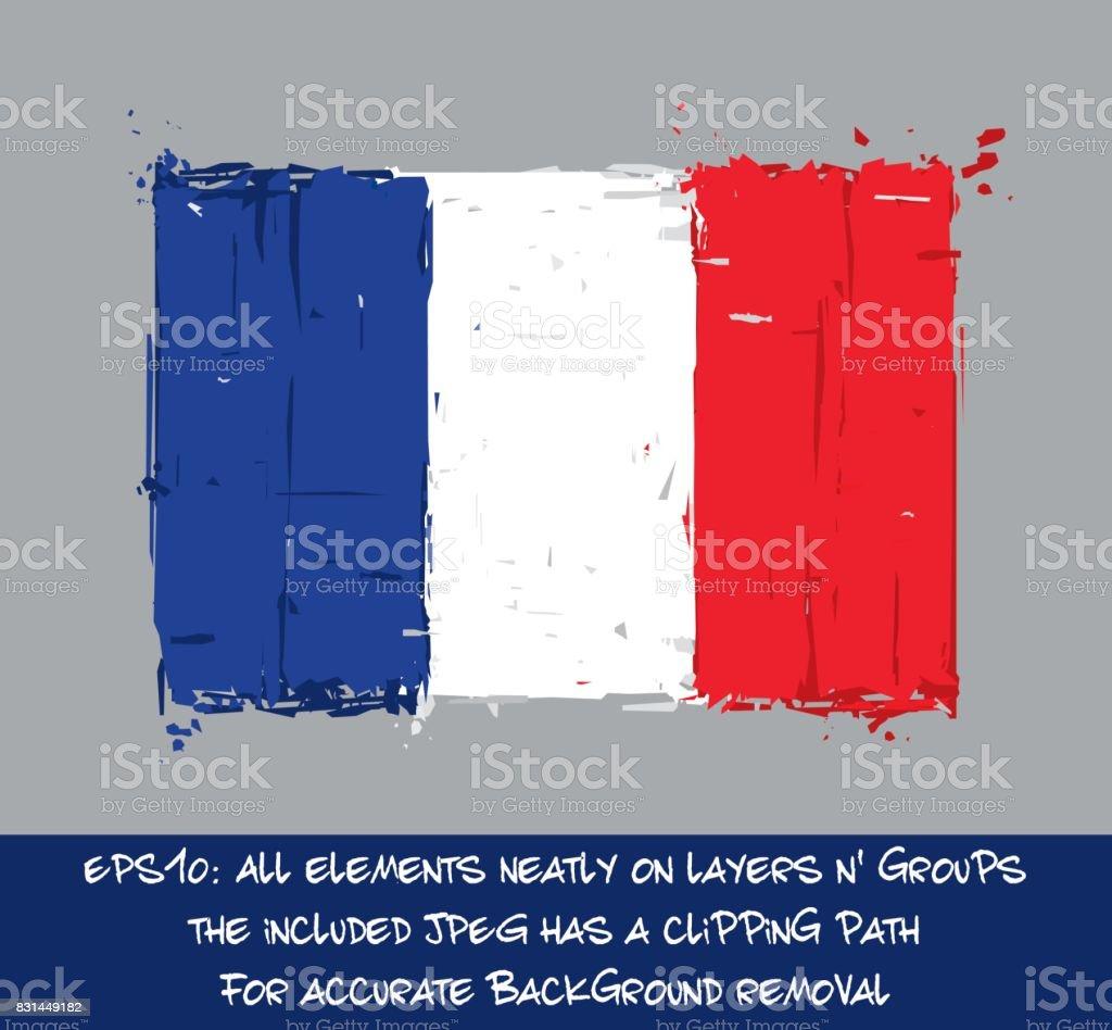 French Flag Flat - Artistic Brush Strokes and Splashes vector art illustration