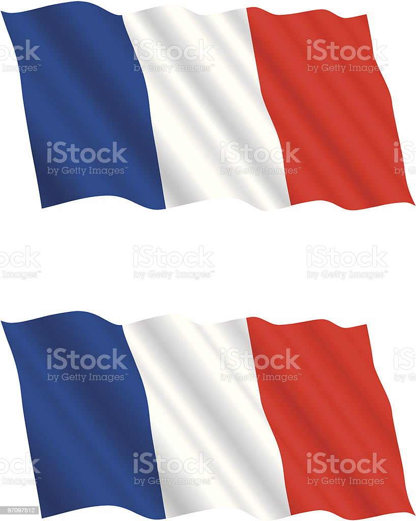 French Flag Flying in the Wind vector art illustration