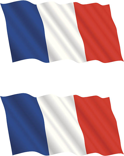 ilustraciones, imágenes clip art, dibujos animados e iconos de stock de francés bandera ondeando en el viento - bandera francesa