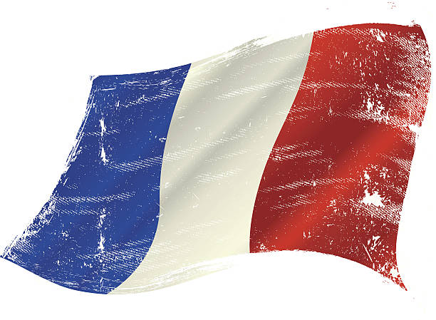 ilustraciones, imágenes clip art, dibujos animados e iconos de stock de bandera francesa grunge - bandera francesa