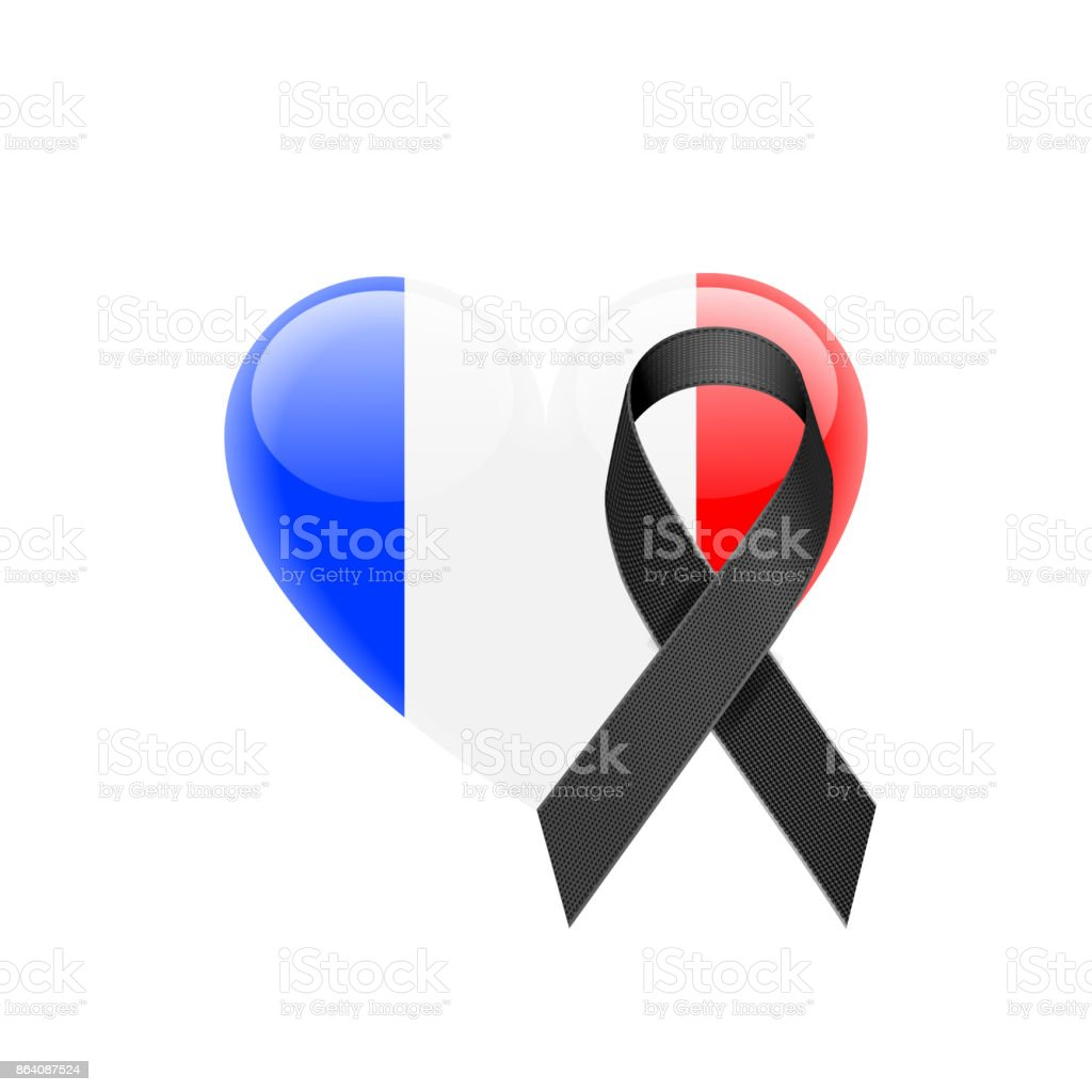 French Flag Heart Icon with Black Ribbon royalty-free french flag heart icon with black ribbon stock vector art & more images of blue