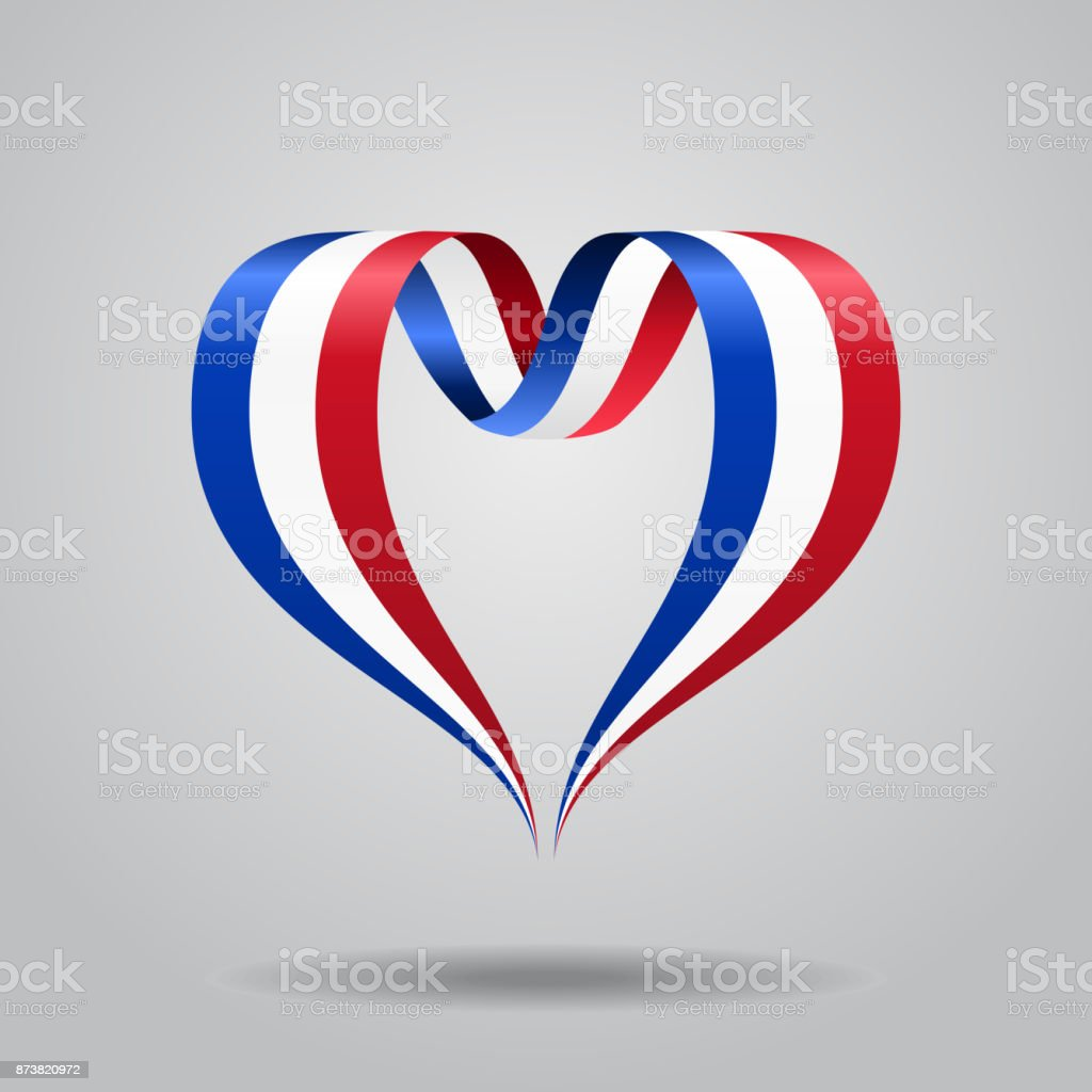 French flag heart-shaped ribbon. Vector illustration. vector art illustration