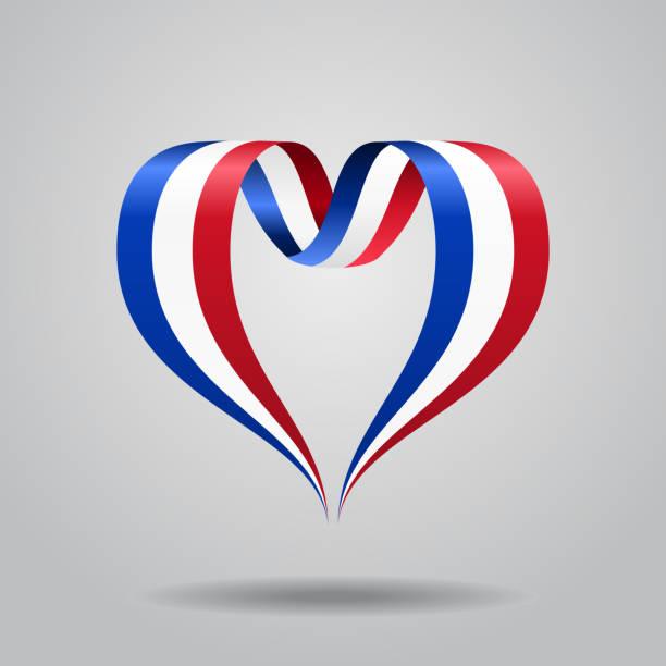 ilustraciones, imágenes clip art, dibujos animados e iconos de stock de francés de la bandera de la cinta en forma de corazón. ilustración de vector. - bandera francesa