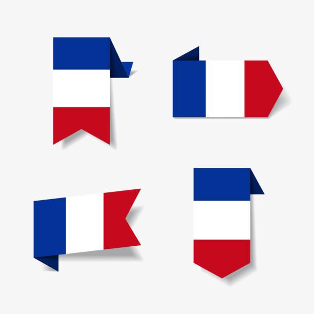ilustraciones, imágenes clip art, dibujos animados e iconos de stock de etiquetas y pegatinas de la bandera francesa. ilustración de vector. - bandera francesa