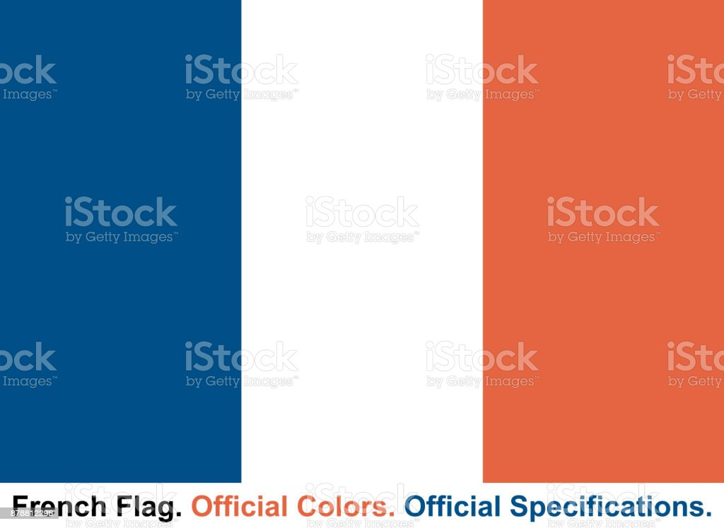French Flag (Official Colors and Official Specifications) vector art illustration