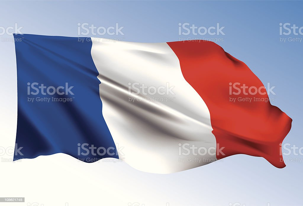 French flag waving in wind on blue sky vector art illustration