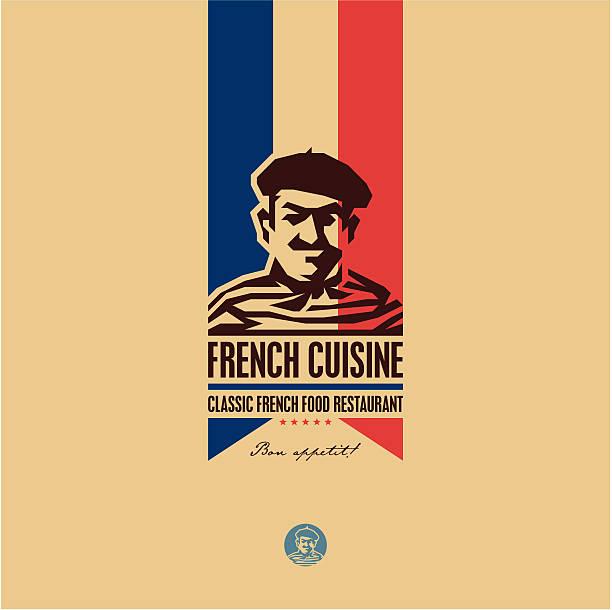 French food, French cuisine restaurant logo French food, French cuisine restaurant logo, French man icon, bon appetit, bon appetit french culture stock illustrations