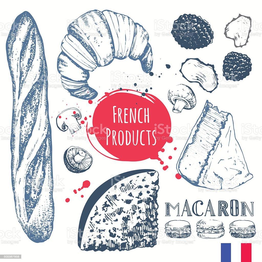 Cuisine française dans l'esquisse. Des produits traditionnels européens. - Illustration vectorielle