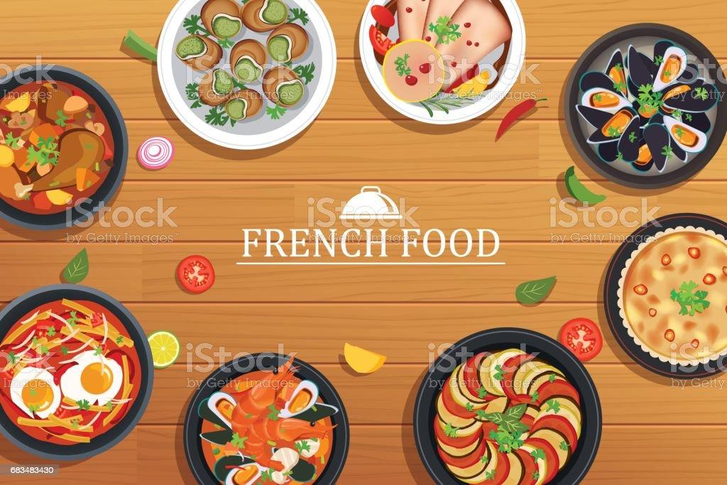 französisches Essen auf eine Draufsicht Holztisch Hintergrund – Vektorgrafik