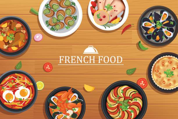 french food on a top view wooden table background vector art illustration