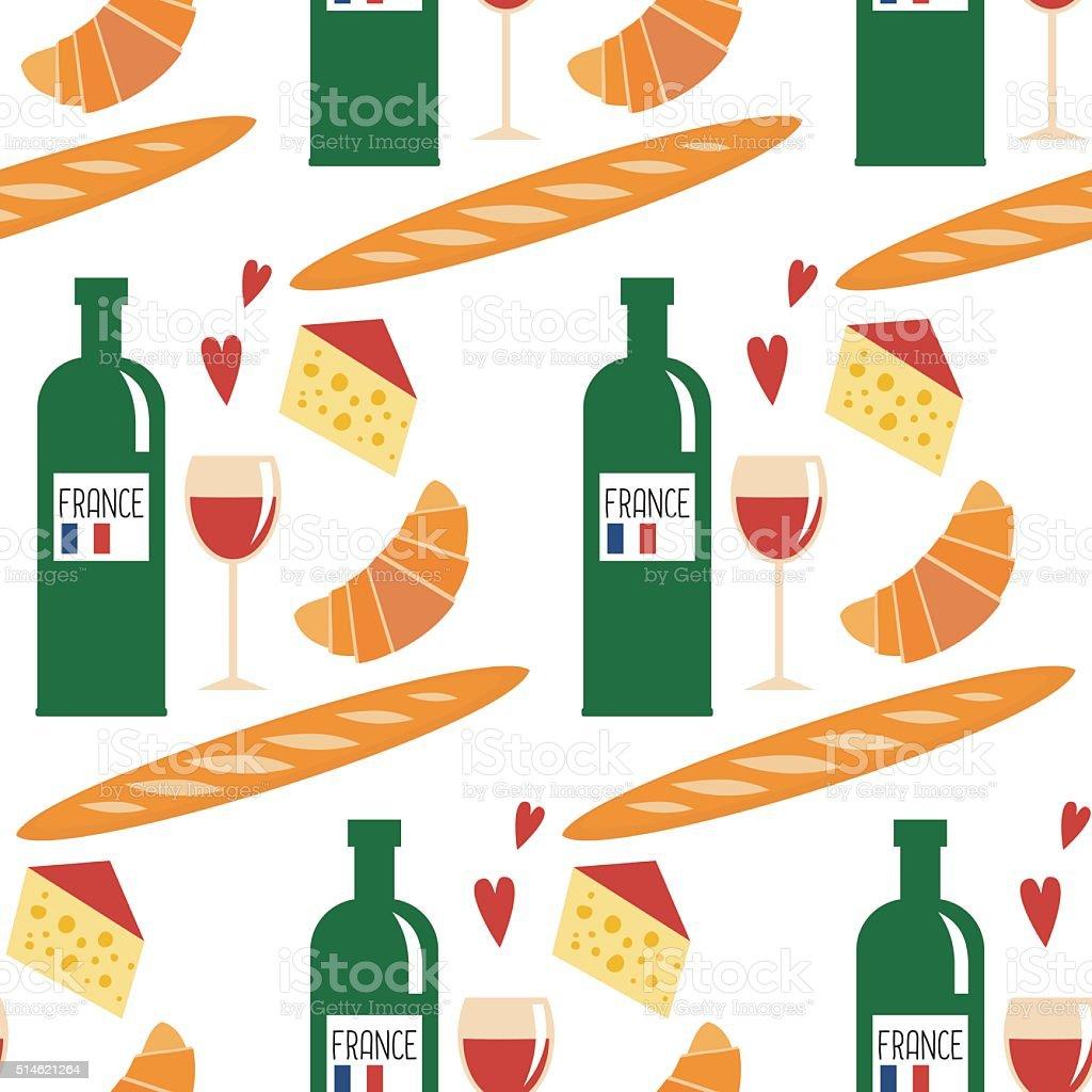 Französische Küche Nahtlose Musterung Croissant Käse Baguette Wein ...