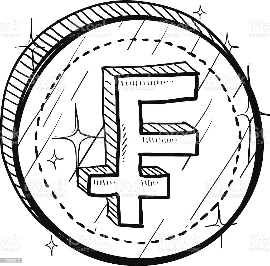 French Franc currency symbol on coin sketch royalty-free french franc currency symbol on coin sketch stock vector art & more images of business