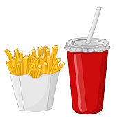 French fries and a drink in a red disposable cup
