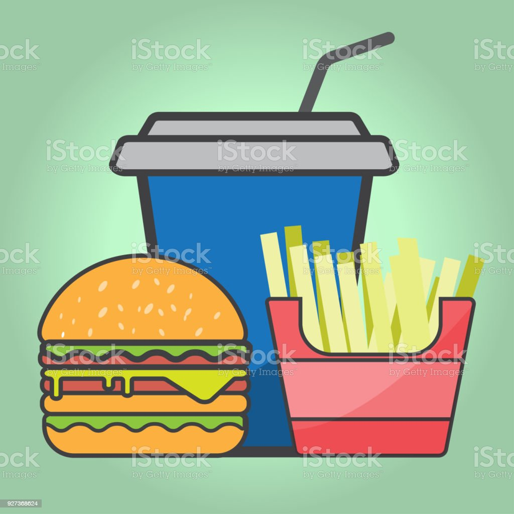 French fries and Hamburger and red paper cup drink. - Royalty-free Beef stock vector