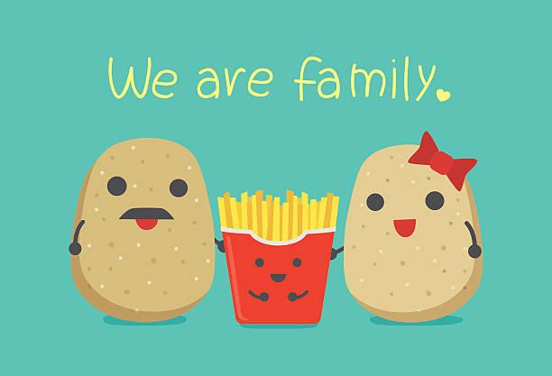 pommes frites und jungen kartoffeln eltern. - kartoffeln stock-grafiken, -clipart, -cartoons und -symbole