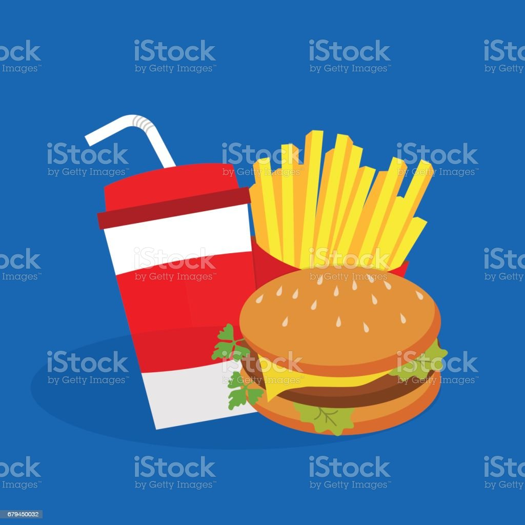 French fries, burger and soda. Fast food, flat design. royalty-free french fries burger and soda fast food flat design stock vector art & more images of art