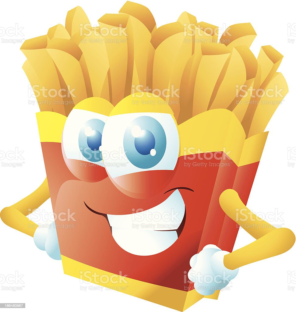 french fries cartoon grinning royalty-free stock vector art