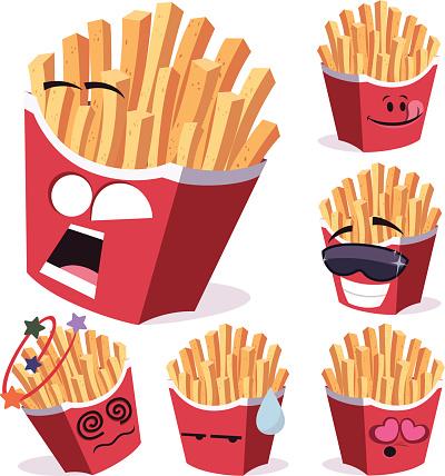 French Fries Cartoon Set A
