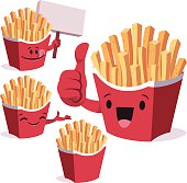 Cartoon french fries set including: