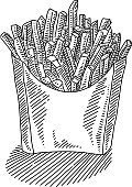 Line drawing of French fries. Elements are grouped.contains eps10 and high resolution jpeg.