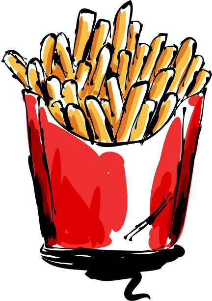 French fries Drawing drawing of French fries, Elements are grouped.contains eps10 and high resolution jpeg. french fries stock illustrations