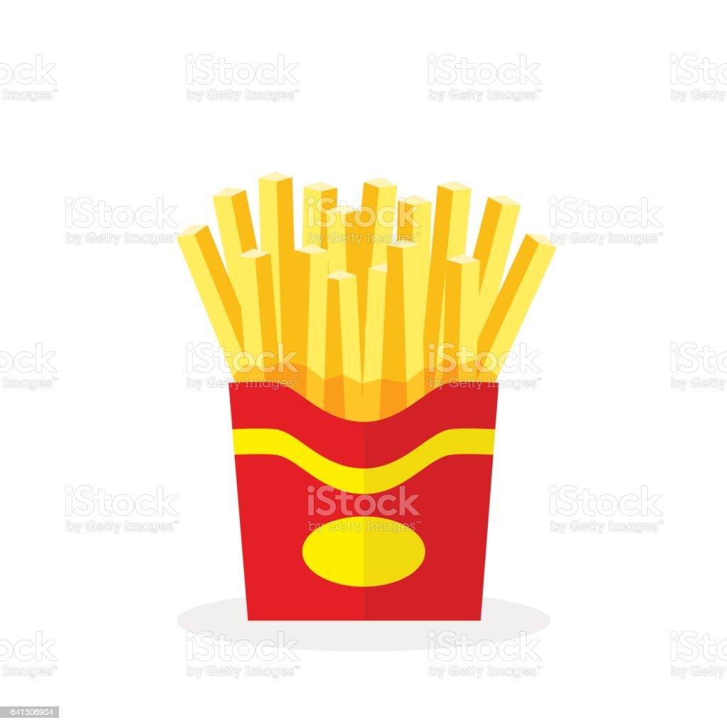 Batatas fritas. Fast-food. Batatas fritas em uma embalagem de papel vermelho isolado em um fundo branco. Ilustração em vetor plana, EPS10. - ilustração de arte em vetor