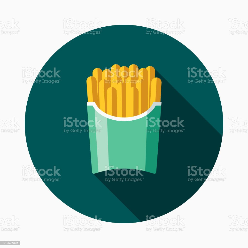 Ícone de Fast-Food Design plano de batatas fritas - ilustração de arte em vetor