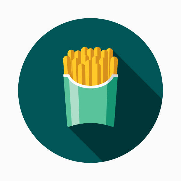 stockillustraties, clipart, cartoons en iconen met franse frietjes flat design fastfood pictogram - friet