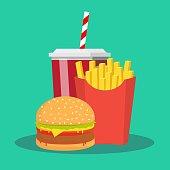 French fries, hamburger and soda takeaway . fast food menu. Stock flat vector illustration.