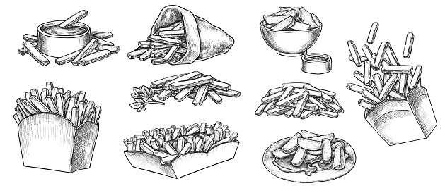 French fries hand drawn sketch isolated on white background