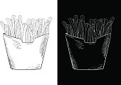 French fries. Hand drawn sketch. Vector illustration