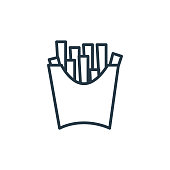 istock french fries icon vector from food concept. Thin line illustration of french fries editable stroke. french fries linear sign for use on web and mobile apps, logo, print media.. 1269969286