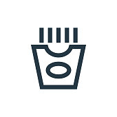 istock french fries icon vector from restaurant concept. Thin line illustration of french fries editable stroke. french fries linear sign for use on web and mobile apps, logo, print media.. 1271570907