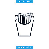 istock French Fries Icon Vector Stock Illustration Design Template. 1283816150