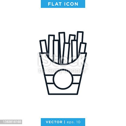 istock French Fries Icon Vector Stock Illustration Design Template. 1283816165